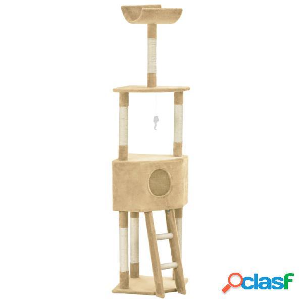 vidaXL Árvore para gatos c/ postes arranhadores sisal 180 cm bege