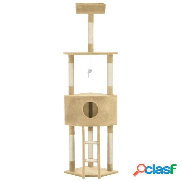 vidaXL Árvore para gatos c/ postes arranhadores sisal 180 cm bege 1