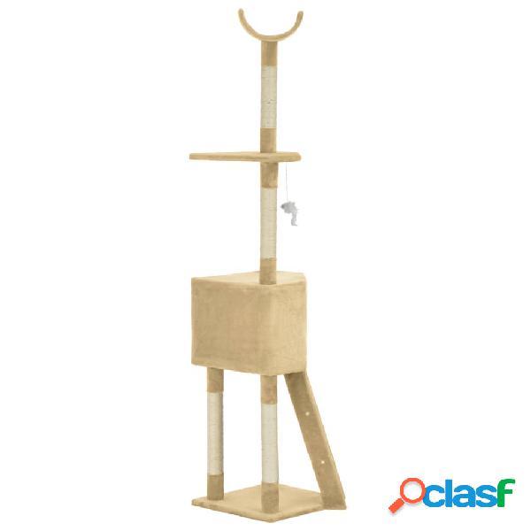 vidaXL Árvore para gatos c/ postes arranhadores sisal 180 cm bege 2