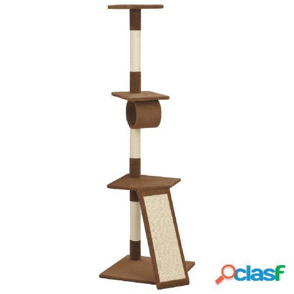 vidaXL Árvore para gatos com postes arranhadores sisal castanho 160 cm