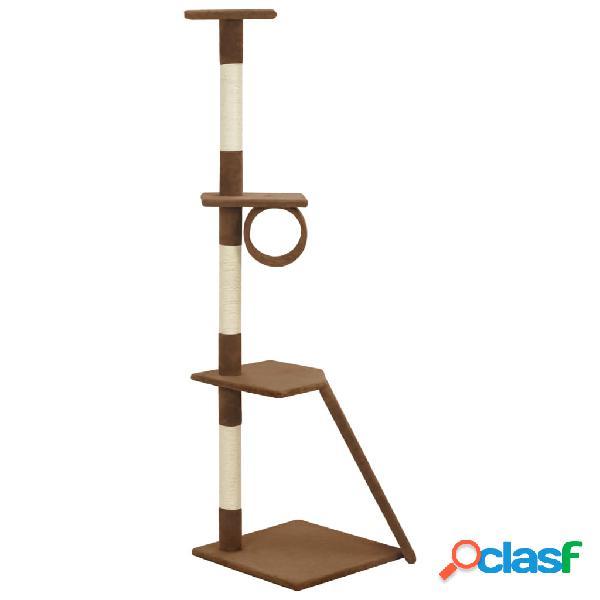 vidaXL Árvore para gatos com postes arranhadores sisal castanho 160 cm 1