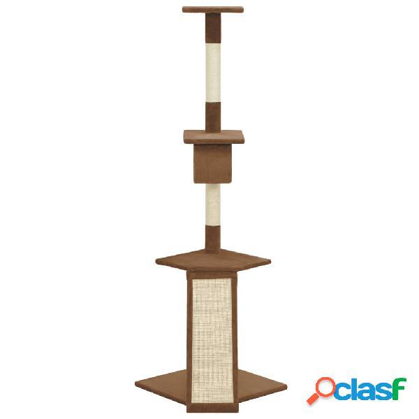 vidaXL Árvore para gatos com postes arranhadores sisal castanho 160 cm 2