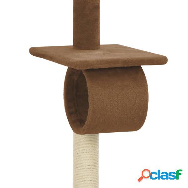 vidaXL Árvore para gatos com postes arranhadores sisal castanho 160 cm 3