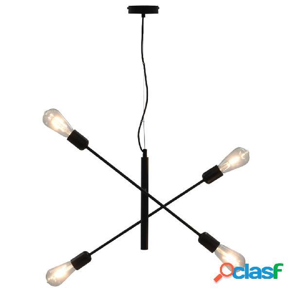 Vidaxl candeeiro teto c/ lâmpadas incandescência 2 w preto e27