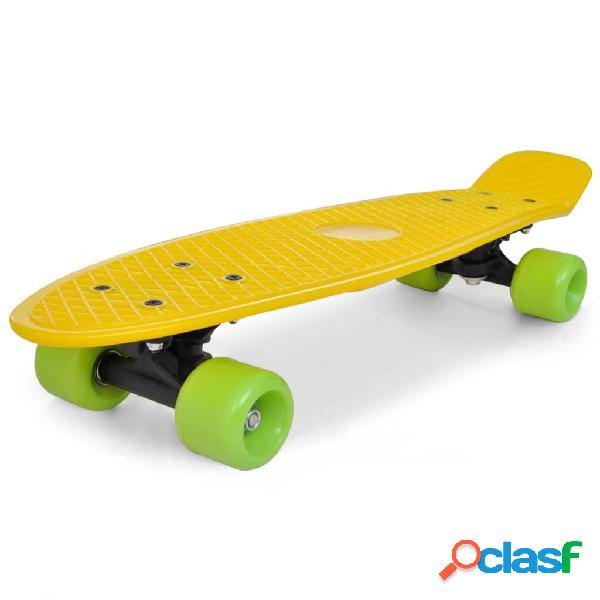 vidaXL Skate Estilo Retro Parte Superior em Amarelo e Rodas Verdes