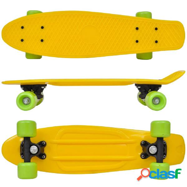 vidaXL Skate Estilo Retro Parte Superior em Amarelo e Rodas Verdes 1