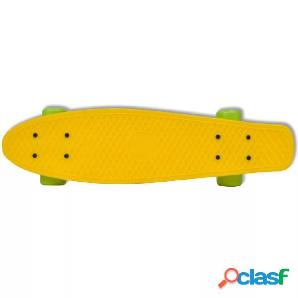 vidaXL Skate Estilo Retro Parte Superior em Amarelo e Rodas Verdes 2