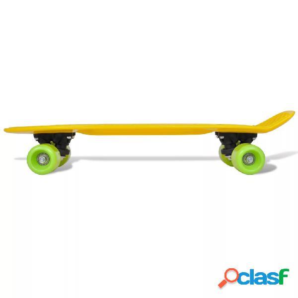 vidaXL Skate Estilo Retro Parte Superior em Amarelo e Rodas Verdes 3