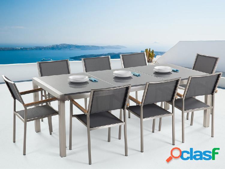 Mesa de jardim 220 cm - tampo de basalto cinza polido - aço inox - 8 cadeiras brancas - fibra têxtil - grosseto