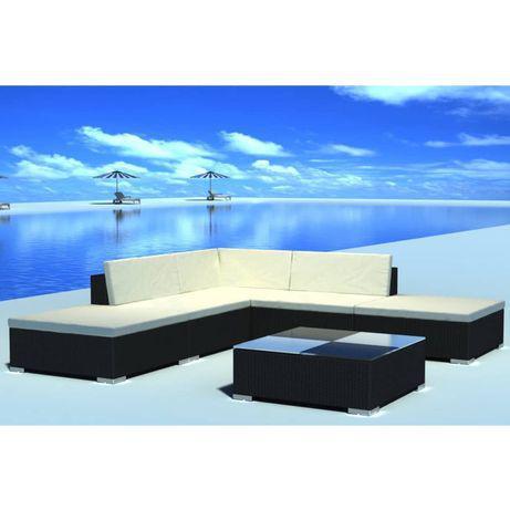 Vidaxl 6 pcs conjunto lounge de jardim c/ almofadões vime