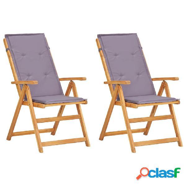 Vidaxl cadeiras jardim reclináveis 2pcs madeira acácia maciça castanho