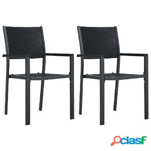 Vidaxl cadeiras jardim 2 pcs plástico preto aspeto vime