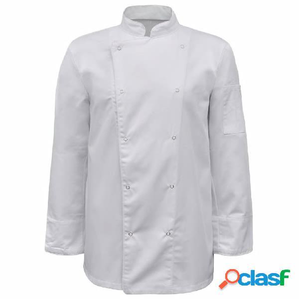 Vidaxl jaqueta/jaleca de chef 2 pcs manga comprida tamanho xl branco