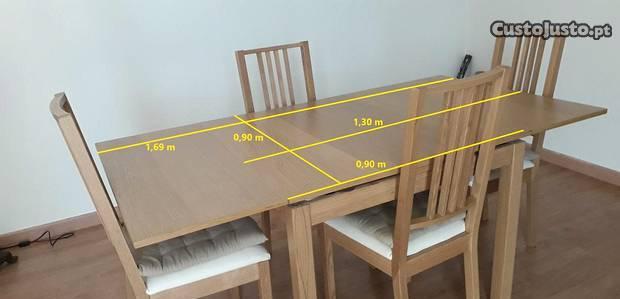 Mesa extensível de refeições e 4 cadeiras (ikea)