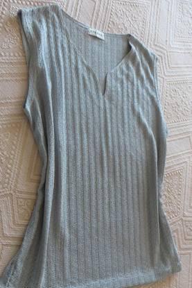 Camisola malhinha, cinza claro, decote v - xxl