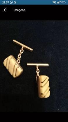 Botões de punho vintage. prata de lei e marfim