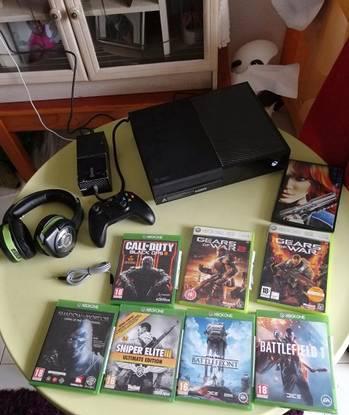 Xbox one com jogos e auricular