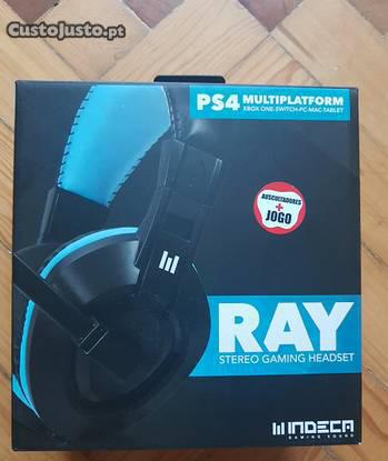 Indeca auscultadores gaming ray blue/black