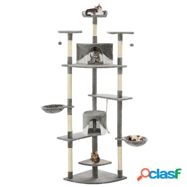 Vidaxl árvore p/ gatos c/ postes arranhadores sisal 203cm cinza/branco