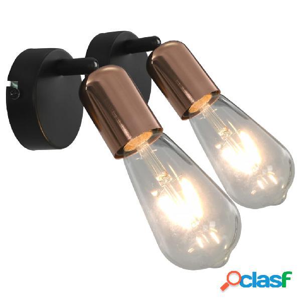Vidaxl holofotes parede 2 pcs lâmpadas de incand. 2 w preto/cobre e27