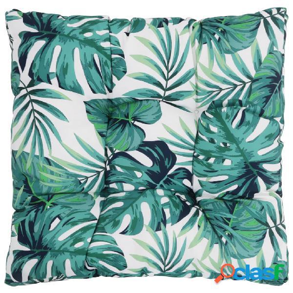 Vidaxl almofada p/ assento jardim 50x50x10 cm tecido padrão folhas