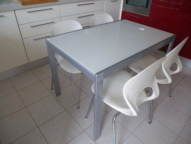 Mesa de cozinha vidro branca extensível + 4 cadeiras