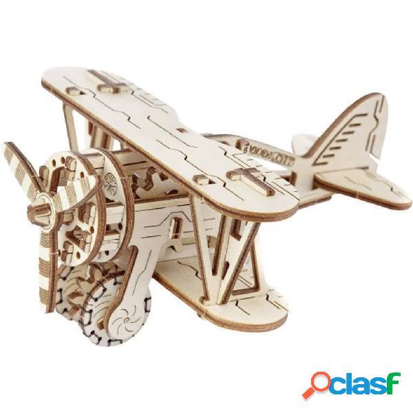 Wooden city kit/maqueta de biplano à escala madeira