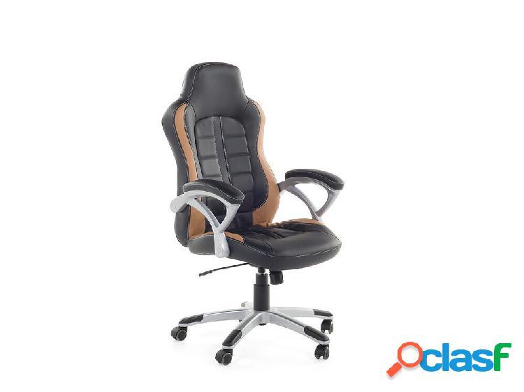 Cadeira de escritório preta e marrom clara - cadeira de gaming - pele sintética - prince