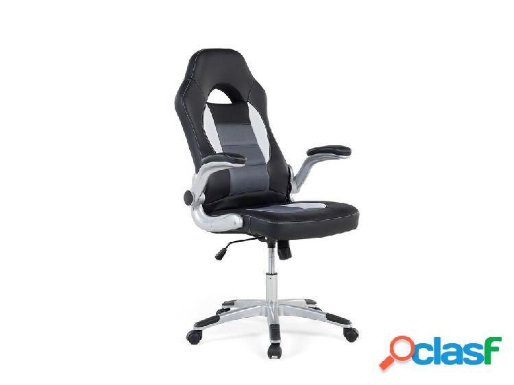 Cadeira de escritório preta - pele sintética - altura e braços ajustáveis - dean