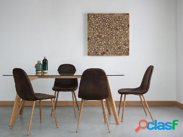 Cadeira de jantar marrom escuro - tecido e madeira - bruce