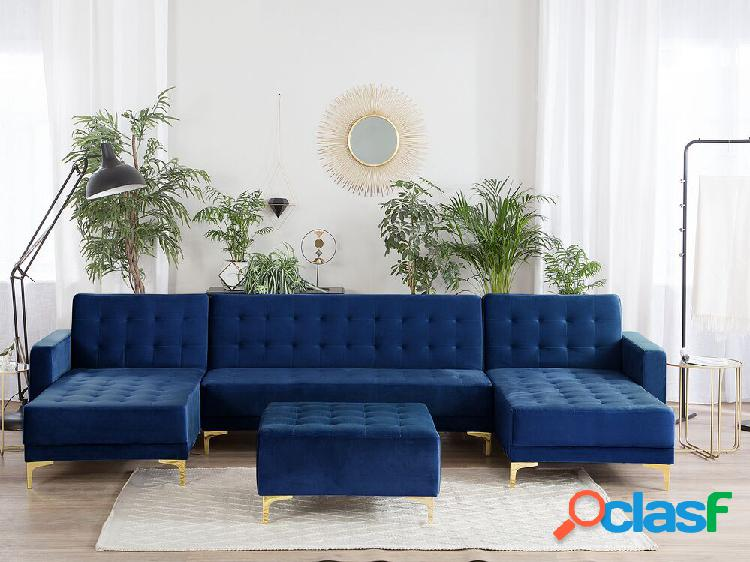 Sofá de canto de 5 lugares em veludo azul marinho com repousa-pés aberdeen