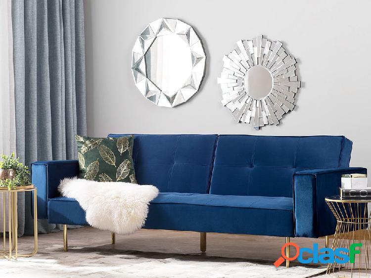Sofá-cama em veludo azul marinho VISNES