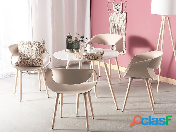 Conjunto de 2 cadeiras para refeitório - plástico e madeira de faia - castanho claro - charlotte