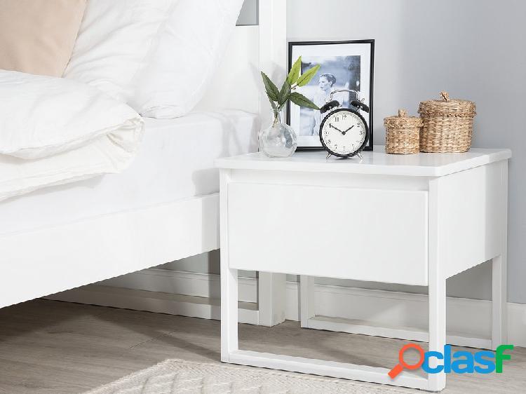 Mesa de cabeceira branca - nogueira - madeira maciça - giulia