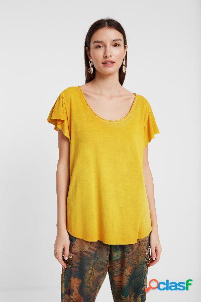 T-shirt desenho floral devoré - yellow - s