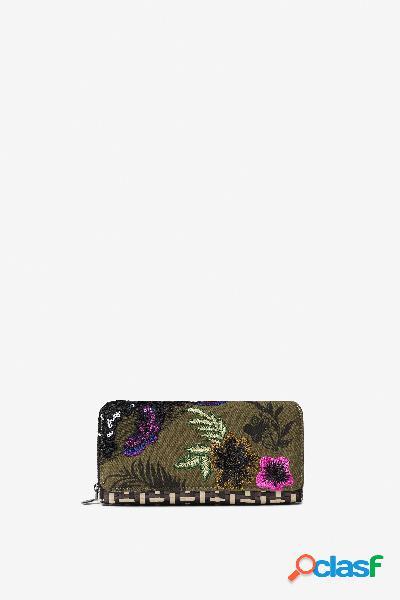 Carteira patchwork com ráfia e estampado floral - black - u