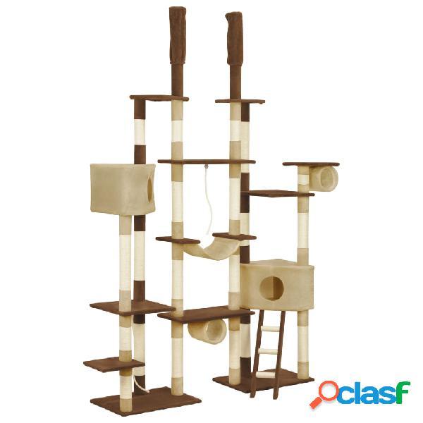 vidaXL Árvore para gatos c/ postes arranhadores sisal 234 cm castanho