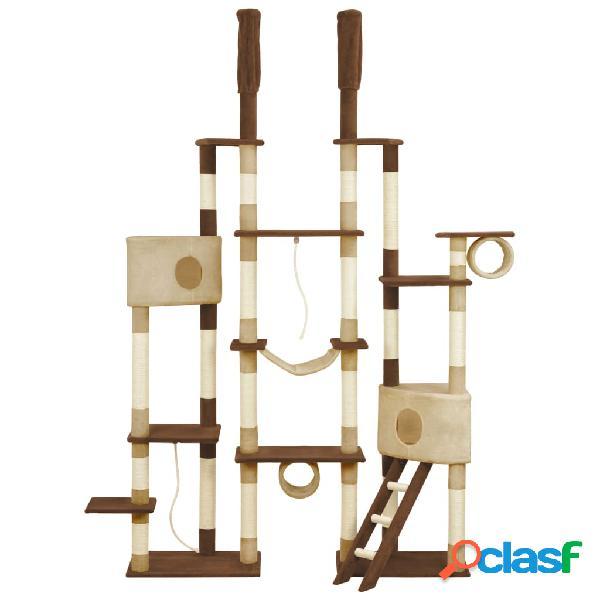 vidaXL Árvore para gatos c/ postes arranhadores sisal 234 cm castanho 1