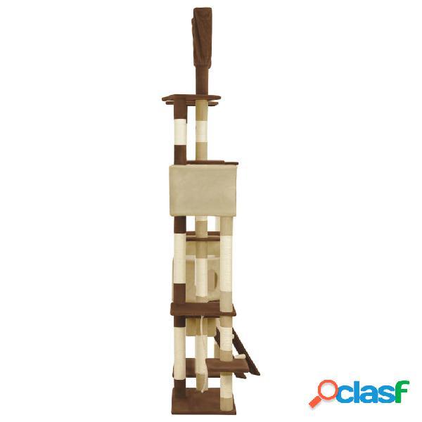 vidaXL Árvore para gatos c/ postes arranhadores sisal 234 cm castanho 2