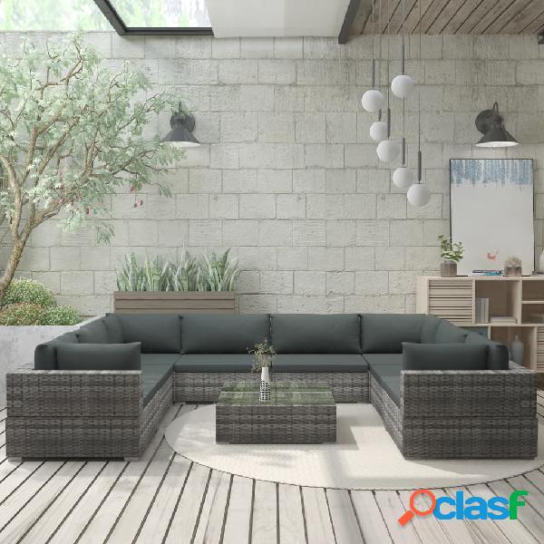 vidaXL 9 pcs conjunto lounge de jardim c/ almofadões vime PE cinzento