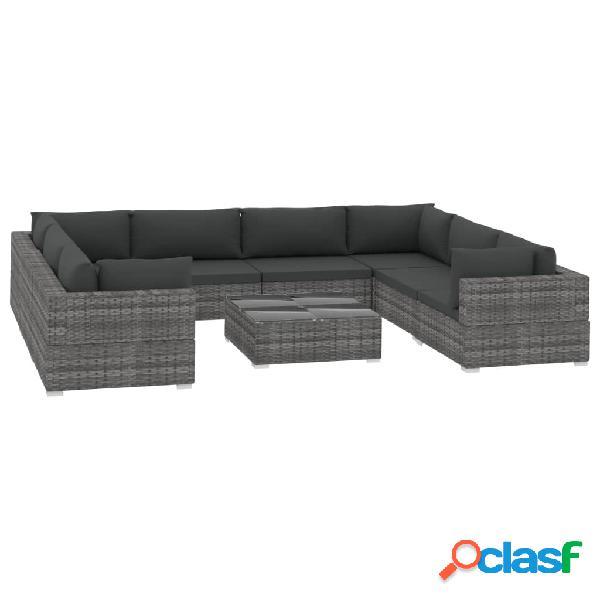 vidaXL 9 pcs conjunto lounge de jardim c/ almofadões vime PE cinzento 1