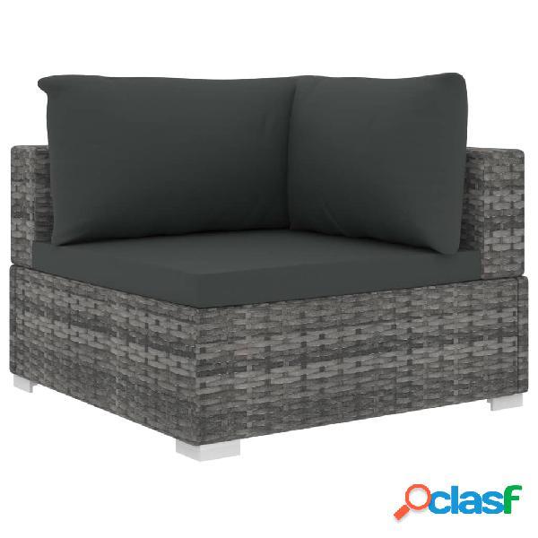 vidaXL 9 pcs conjunto lounge de jardim c/ almofadões vime PE cinzento 3