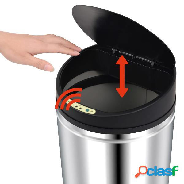 vidaXL Caixote do lixo com sensor automático 52 L aço inoxidável 3