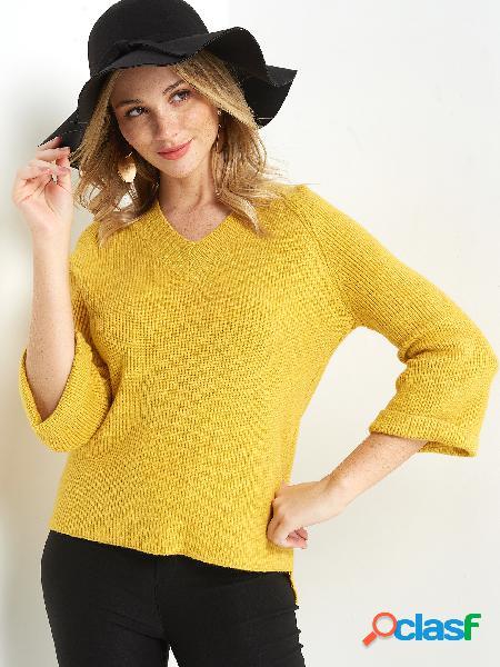 Casual amarelo simples decote em v 3/4 comprimento mangas regular fit camisolas