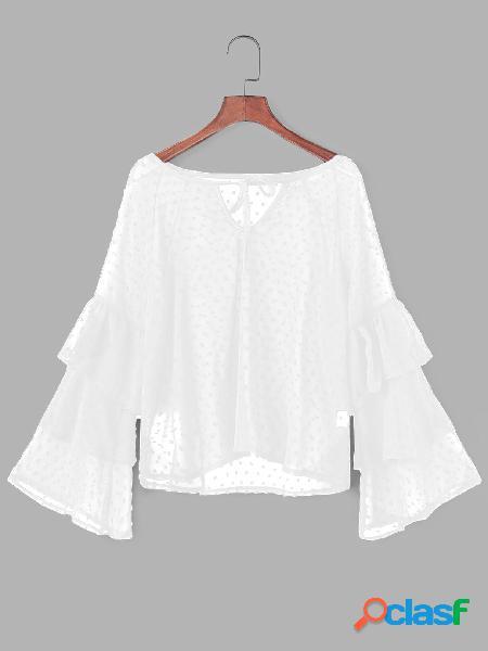 Decote branco gargantilha decote blared mangas blusas