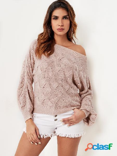 Torção rosa malha camisola de um ombro