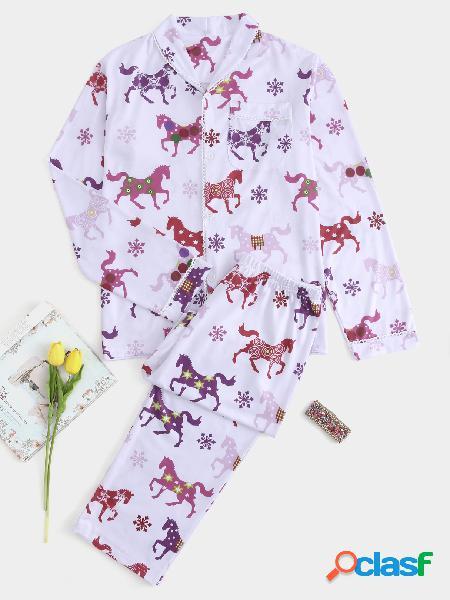 Conjunto de pijama de natal de botão frontal cavalo branco impressão