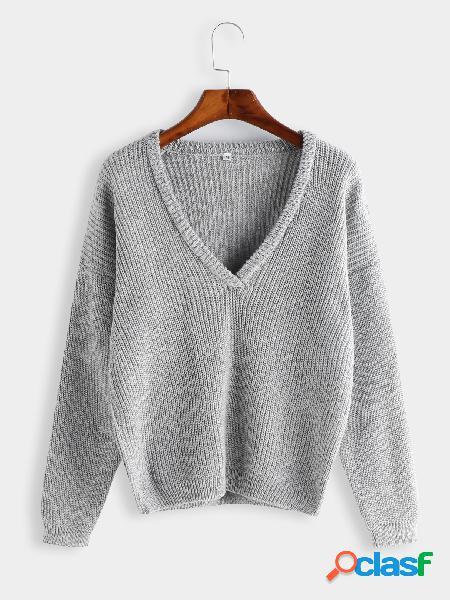 Cinza claro plain v profundo mangas compridas soltas fit blusas