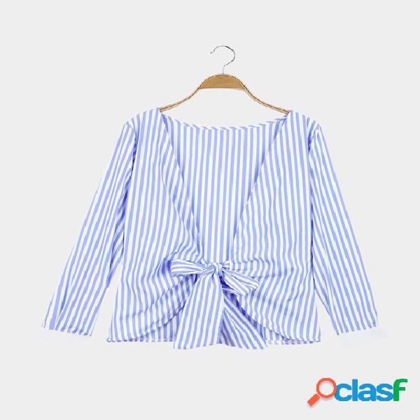 Blue stripe pattern open back manga comprida topo