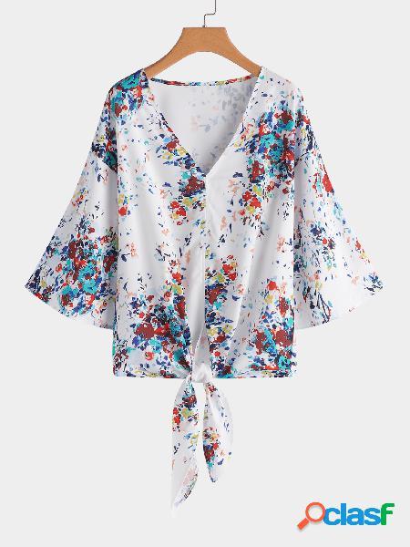 Design de self-tie azul impressão floral aleatório v-neck blusa de mangas de decote em v profundo